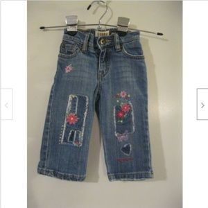 Childrens Place Jeans Sz 12 Mo Embroidered Flowers